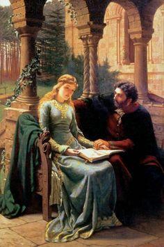 LARGE SIZE PAINTINGS: Edmund Blair LEIGHTON Abelard and his Pupil Helois...