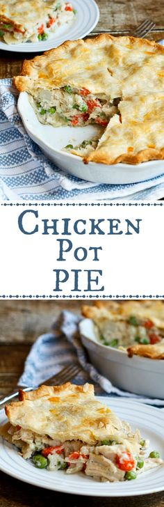 Easy Chicken Pot Pie- super easy, the recipe uses rotisserie chicken and refrigerated pie crust to make this a meal you can get on the table in 30 minutes!