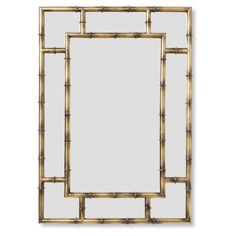 Check out this item at One Kings Lane! Bamboo Crackle Wall Mirror, Brass