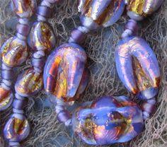 Art Deco Venetian Opalescent Foil Glass Necklace Rare Tulip Beads