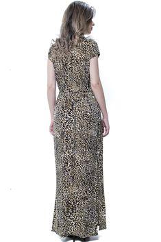 c06134e68 Vestido Longo 101 Resort Wear Malha Fria Estamapado Oncinha Animal Print