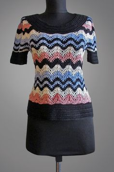 Crochet top Marta. Multicolor Missoni style organic cotton crochet top. Ready to ship.