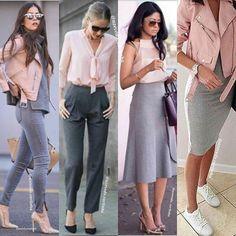 Instagram media by azevedo.carlinha - ✔ Ainda na vibe do rosinha, a combinação com o cinza cria um look moderno e feminino, nos pés,  aposte no scarpin para complementar ou se o #dresscode da sua empresa permitir, vá de tênis!  Aposte! ✔👍👌 - - - - - - - - -  #rosequartz #looksparainspirar #minspira#inspiration #moda#modaemgrupo#modaparamulheres#modafeminina#style#mood#lookemgrupo…