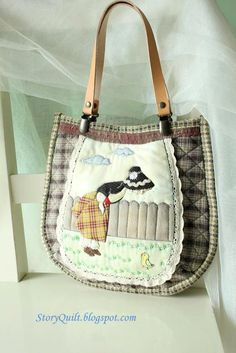 Handmade and hand applique Sunbonnet Sue and missing chicken shoulder bag