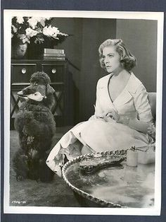 Lauren Bacall and her black Standard Poodle 1957