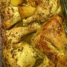 "Roasted Greek Chicken | ""I used chicken legs with the thigh attached and since I didn't have lemons, I used lemon juice. After I finished cooking the chicken, I placed steamed potatoes in the pan. They soaked up some of that delicious lemony goodness and really tied the dish together. The recipe was easy and incredibly tasty."""