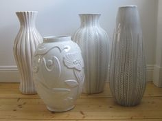 White vases from Upsala Ekeby. Uppsala. Sweden.