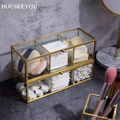 Perfect for keeping accessories and make up supplies organized, the Glass Gold Storage Box adds charm to dressers, shelves and vanities. Makeup Storage Organization, Home Organisation, Make-up Box, Make Up Storage, Storage Bins, Storage Rack, Cute Room Decor, Vanity Decor, Aesthetic Room Decor