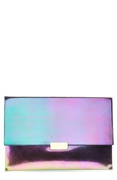 Free shipping and returns on Stella McCartney 'Eco Hologram' Envelope Clutch at Nordstrom.com. A prismatic metallic sheen illuminates the crisp, modern lines of an enviable clutch featuring logo-etched goldtone hardware and a convenient wrist strap.