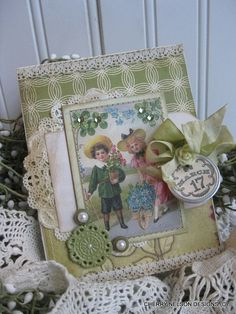 victorian ST PATRICKS day card- Irish children with shamrocks card- march 17 handmade stitched card