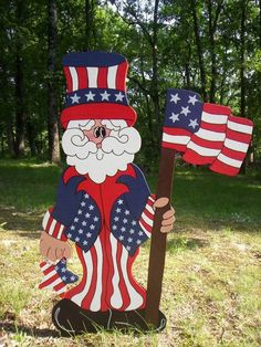 We have been making quality yard art for over 20 years since 1993!!! This listing is for One Patriotic Uncle Sam 4th of July yard art lawn decoration. All our Yard Art is hand-crafted by us. My husband hand cuts each item and preps it for me and I hand sand, prep, hand paint and seal each piece. Each piece is made out of the best quality materials. We use 3/8 signboard which is made especially for the outdoors and will weather much better than traditional plywood. We also seal each item...