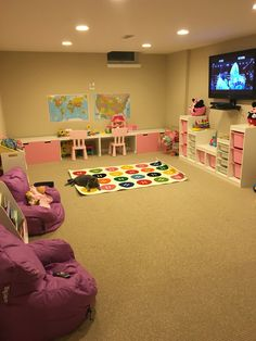 IKEA Kids Playroom Storage Playroom Layout, Ikea Playroom, Playroom Organization, Unfinished Basement Playroom, Kids Playroom Storage, Organized Playroom, Playroom Ideas, Organizing, Daycare Rooms