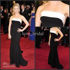 Wholesale Evening Dresses - Buy 2013 Best Sales! Mermaid White Black  Strapless Satin Floor-Length Long Evening Prom Formal Gowns Dresses 1d76ee86d