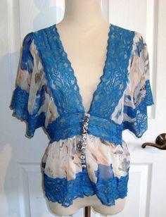 Sheer Watercolor Print & Blue Lace Blouse by Aggie Size L #Aggie #Blouse #Versatile..bid for $5.99