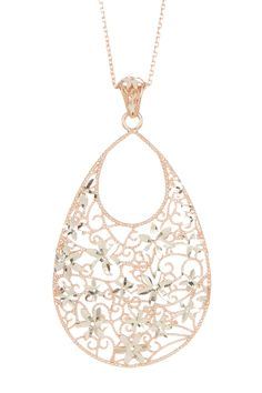Rose Gold Plated Sterling Silver Filigree Briolette Pendant Necklace on @HauteLook
