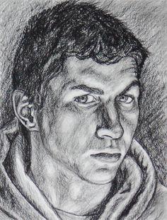 Art III - 11th grade: Self-Portrait in charcoal.