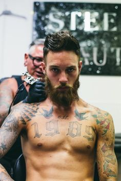 Image about love in Tatoo by C☆mille on We Heart It Inked Men, Hipsters, Sexy Tattoos, Tattoos For Guys, Tatoos, Billy Huxley, Oldschool, Beard Lover, Beard Tattoo