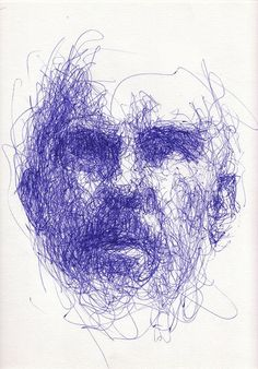 Expressive line drawing showing tone through mark making