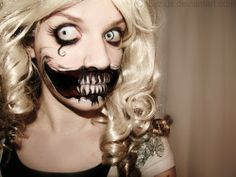 girlshue - 15 Scary Halloween Face Make Up Looks & Ideas 2012 Days Till Halloween, Scary Halloween, Halloween Make Up, Halloween Party, Halloween Face Makeup, Halloween Costumes, Halloween Ideas, Halloween Hair, Zombie Costumes