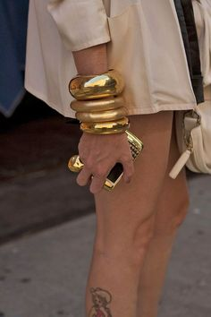 Accessorize in Gold The Bangles, Gold Bangles, Bangle Bracelets, Silver Rings, Candy Jewelry, Gold Jewelry, Jewelry Accessories, Fashion Accessories, Fashion Jewelry