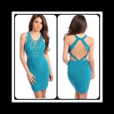 Emerald Green Dress This sultry green dress features crochet detail and Criss cross back detail. 93% Polyester, 7% Spandex, (This closet does not trade or use PayPal ) Black Koi Dresses Mini