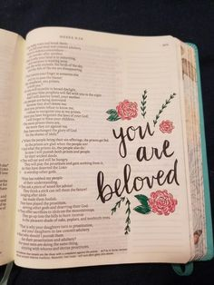You are beloved Bible Verse Art, Bible Verses Quotes, Bible Scriptures, Bible Drawing, Bible Doodling, Cute Bibles, Journaling, Bibel Journal, Bible Notes