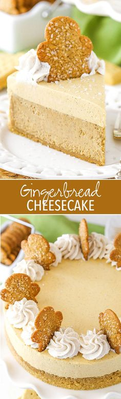 Gingerbread Cheesecake - A great holiday dessert full of flavor and spices! Gingerbread Cheesecake - A great holiday dessert full of flavor and spices! Mini Desserts, Holiday Baking, Christmas Desserts, Christmas Baking, Easy Desserts, Delicious Desserts, Dessert Recipes, Felt Christmas, Christmas Crafts