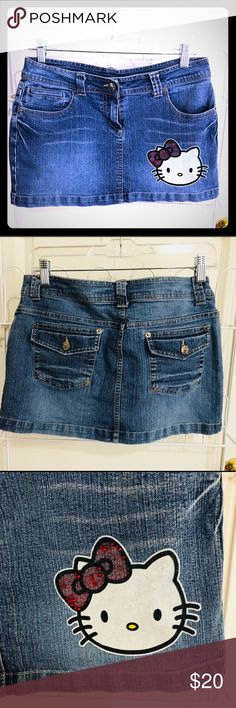 Hello Kitty denim skirt⚡️⚡️💥💥 Adorable denim hello kitty skirt loved with tender care!! Hate to let go but it's time,tag says girls large but fits a woman 5 -6 perfect!! Skirts