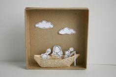 My Paper Boat - Photo print - Paper diorama - letter size Matchbox Crafts, Matchbox Art, Cardboard Crafts, Paper Crafts, Diy For Kids, Crafts For Kids, Paper Illustration, Shadow Box, Diy Art