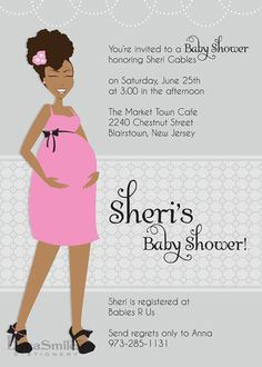 Mom-To-Be Chic Baby Shower Invitation - African American - Natural Hair