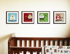 Owl prints Retro nursery artwork for children baby 4 by Wallfry. $47.00, via Etsy. - for specific owl idea