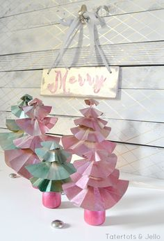 Mercury Glass Paper Christmas Tree Tutorial!! -- Tatertots and Jello #DIY [@krylonbrand]