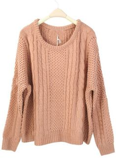 Pink Round Neck Batwing Long Sleeve Pullovers Sweater