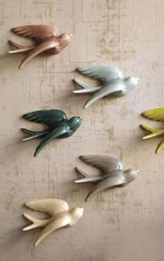 Kalalou Ceramic Swallows - Set Of 6 Hand Built Pottery, Slab Pottery, Clay Crafts For Kids, Diy Air Dry Clay, Clay Wall Art, Biscuit, Clay Art Projects, Polymer Clay Crafts, Fimo Clay