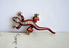 Vintage Red Enamel Rhinestones Lizard Brooch by honeyandsea on Etsy