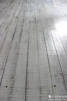 Hardwood white floors: these were a challenge, but it worked out beautifully! Sanded, Painted White, Sanded to bring out the grain, stained & water poly atop.