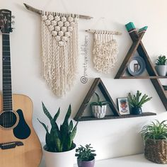 Hand built triangle shelves + handmade wall hangings. - Instagram: @prettywildfibers #macrame #wallhanging #bohoinspo #jungalowstyle #plantsmakepeoplehappy