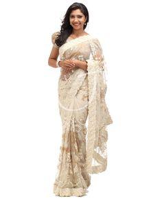 Off white color net fancy saree Indian Dresses, Indian Outfits, Indian Saris, Indian Clothes, Black Net Saree, Party Wear Dresses, Wedding Dresses, Party Sarees, Off White Color