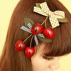 Super Cute Cherry Bow Hair Clips - Women's Jewelry