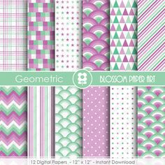 Mint Purple Digital Paper Geometric Digital by blossompaperart