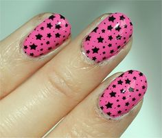 """Quo by Orly """"True Love"""" / Konad Image Plate m84 with nail polish in black"""