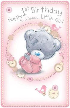 Little Girls Birthday Me to You Bear Card : Me to You Bears Online - The Tatty Teddy Superstore. Happy 1st Birthday Wishes, 1st Birthday Quotes, Happy 1st Birthdays, Birthday Images, Birthday Greetings, Birthday Cards, Little Girl Birthday, Baby Birthday, Bear Card