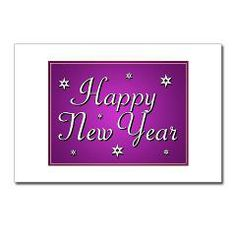 Purple And Silver Happy New Year Postcards (Packag > Purple And Sliver Happy New Year > christmas