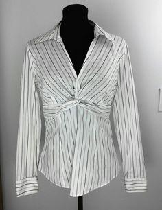 Ann Taylor Loft Shirt Size 6 Black White Pinstriped Longsleeve Babydoll Work #AnnTaylorLOFT #KnitTop #Career