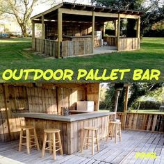Outdoor Pallet Bar…these are the BEST DIY Pallet Ideas! The post Outdoor Pallet Bar…these are the BEST DIY Pallet Ideas! appeared first on Wood Decoration Palette. Bar Pallet, Outdoor Pallet Bar, Outdoor Decor, Pallet Ideas, Outdoor Bars, Pallet Wine, Outdoor Furniture, Pallet Patio, Furniture Plans