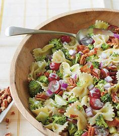 Recipe for Broccoli Grape and Pasta Salad - If you're a broccoli salad fan, you'll love the combination of these colorful ingredients.