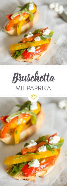 Bruschetta mit dreierlei Paprika Fresh, easy to make and so tasty: crispy bruschetta with cream cheese and plenty of colorful peppers. Snacks Für Party, Diet Snacks, Vegetable Recipes, Vegetarian Recipes, Cooking Recipes, Bruchetta, Meat Appetizers, Soul Food, Food Inspiration