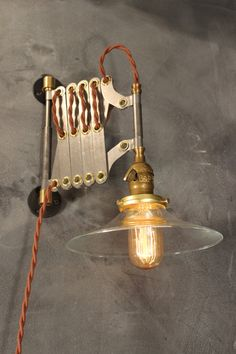 Vintage Industrial Scissor Sconce - Expandable Accordion Lamp. DW Vintage, NY. Etsy
