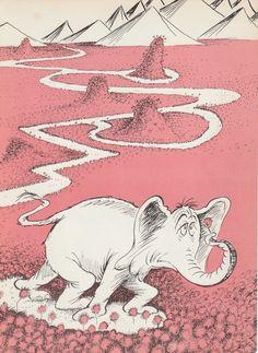 1950s Dr Seuss Vintage print Horton 2sided by AnemoneReadsCrafty, $5.00