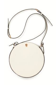 With its slim strap and clean, round shape, Valextra's white leather shoulder bag is the best argument for losing your bucket bag this season. A brushed-brass closure opens the bag at a wider arc than its lean shape suggests, and its strong strap makes it perfect to wear as a cross-body. White Purses, White Bags, Round Bag, White Leather, Leather Bags, Leather Working, Fashion Bags, Fashion Trends, Leather Shoulder Bag